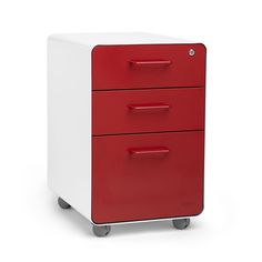 Pippin White + Red Stow 3-Drawer File Cabinet with casters
