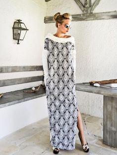 NEW 2017.... Off White & Print  Long Sleeve Maxi Dress Kaftan
