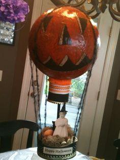 Paper mache' hot air balloon, altered art for Halloween
