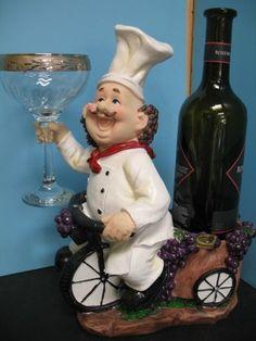 Italian Fat Chef Glass Wine Holder Bistro Decor Home Bar Bicycle Kitchen Set Fat Chef Kitchen Decor, Apple Kitchen Decor, Bistro Kitchen, Rustic Kitchen Decor, Kitchen Themes, Kitchen Sets, Kitchen Rack, Italian Bistro, Italian Chef