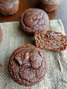 Double Chocolate Coconut Flour Muffins {Gluten-free, Dairy free, Paleo, Low fat}