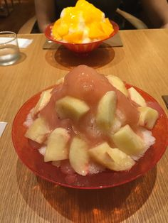 shaved ice with peach