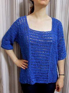 A rosa na janela: Blusa azul de crochê