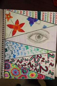 Sketchbook Assignment Ideas~Divide a page into 6 sections. Each section has a different requirement~draw an eye, use numbers, use letters, a line design, a natural object, whatever they want in the last space.