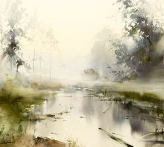 watercolor paintings of China, by professor He Zhen Qiang f Watercolor Artists, Watercolor Techniques, Watercolor Landscape, Watercolor And Ink, Abstract Landscape, Watercolour Painting, Painting & Drawing, Landscape Paintings, Watercolors