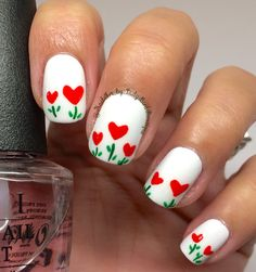 Valentinesday nails. Nail art. Hearts. Nail design.  Instagram photo by: @NailArt_by_LadyBirdBoutique