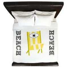 King Duvet> Fav Beach Chairs -yellow stripes> DrapeStudio -perfect for your beach home,  See other colors in our shop at www.cafepress.com/drapestudio and always thank you for sharing our shop with your friends!