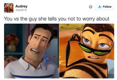 Bee Movie is an animated comedy film that was released on November 2007 starring Jerry Seinfeld (who is also named as the greatest stand-up comedian of all time) and Renée Zellweger. The film was directed by Simon J. Smith and Steve Hickner. Stupid Funny Memes, Funny Relatable Memes, Funny Posts, Hilarious, Funny Laugh, Funny Stuff, Random Stuff, Bee Movie Memes, Bee Movie Quotes