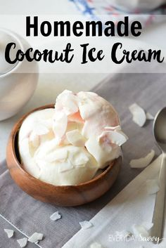 This homemade coconut ice cream recipe is made with just a few simple ingredients. The ice cream at the store tends to full of ingredients that I can't pronounce which I am trying to avoid. You can feel good about eating this homemade ice cream and feeding it to your family. via @everydaysavvy