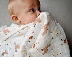 Modern baby kids and humorous grown ups accessories. by Zezling Muslin Blankets, Small Blankets, Beautiful Baby Shower, Beautiful Babies, Baby Llama, Waterproof Fabric, Soft Dolls, Funny Babies, Burp Cloths