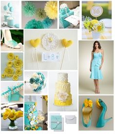 Tiffany blue and yellow wedding theme