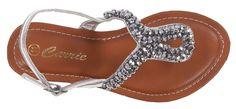 Lovely Lola Footwear Donna Crystal Bead Sandal - Silver