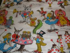 Vintage Alice in Wonderland fabric.