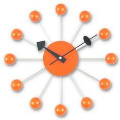 George Nelson 13 in. Ball Wall Clock - Orange