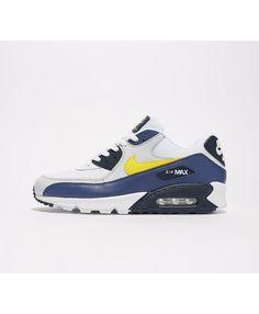 big sale 5804b 3b09a Nike Air Max 90 Essential Chaussures Blanc Jaune Bleu