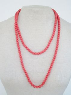 Vintage 80s Retro Coral Bead Necklace by ThePaisleyUnicorn on Etsy, $3.00