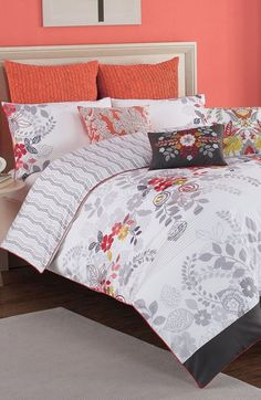 Free shipping and returns on KAS Designs 'Josephine' Duvet Cover at Nordstrom.com. Delicate pintucks and gorgeous embroidery detail a floral-print duvet cover cast in crisp cotton. Color-pop piping trims the edges of this modern style that reverses to stylish chevron stripes.