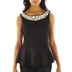 Bisou Bisou® Sleeveless Jeweled Peplum Top - JCPenney