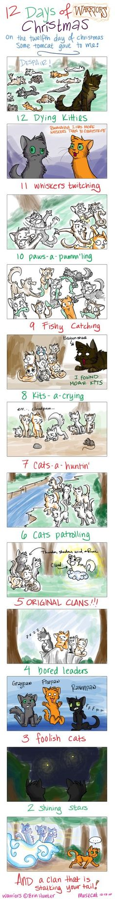 12 days of warrior cats christmas😂 Warrior Cats Comics, Warrior Cats Funny, Warrior Cat Memes, Warrior Cats Series, Warrior Cats Books, Warrior Cats Art, Cat Comics, Warriors Memes, Love Warriors