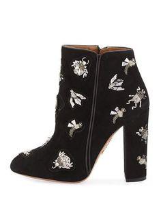 S0G34 AQUAZZURA Fauna Embellished Suede Ankle Bootie, Black