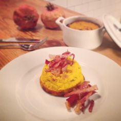 Pumpkin flan with rosemary and crispy speck