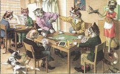 Cartão Postal Alfred Mainzer # 4750-O Jogo De Cartas in Colecionáveis, Cartões postais, Animais | eBay
