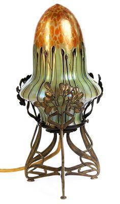 Small Art Nouveau Table Lamp.
