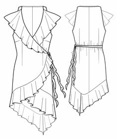 Wrap dress with flounces
