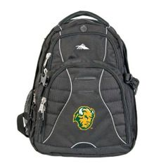 North Dakota State High Sierra Swerve Compu Backpack, Bison Head by CollegeFanGear. $89.98. Padded interior computer sleeve (holds a 17 in. laptop) with easy back-access zipper. Organizer compartment with multiple pockets, zippered mesh pocket and a removable key fob. CD player pocket with headphone port. Tricot-lined pocket for PDA. Side mesh water bottle pockets. S-shaped Vapel(TM) mesh Airflow(TM) padded shoulder straps with suspension system, thumb-ring pulls and...
