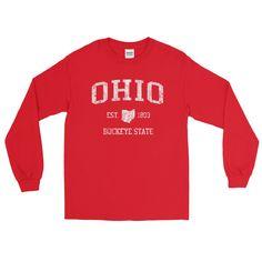 Vintage Ohio OH Adult Long Sleeve T-Shirt (Unisex) - JimShorts