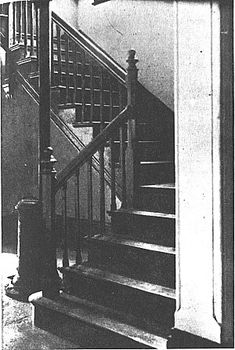BORLEY RECTORY, Borley, Essex, England. Photograph of the bottom of the Main Staircase of Borley Rectory taken by Sidney H. Glanville during his initial visits to the Rectory in June 1937.