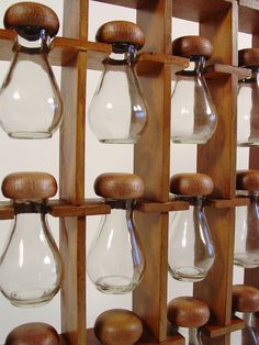 Mid Century Spice Rack. Wooden Hanging Spice Rack With 12 Spice Bottles. Bead…