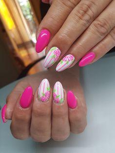 Glow Nails, Polygel Nails, Rose Nails, Best Nail Art Designs, Acrylic Nail Designs, Palm Nails, Summer Toe Nails, Pink Nail Art, Luxury Nails