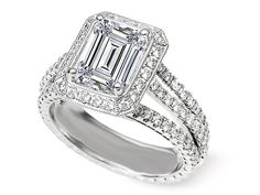 Trio Emerald Cut Diamond Engagement Ring - ES1171.  This is my 70th birthday and 50th wedding anniversary present from my husband.