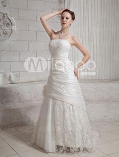 Romantic A-line Strapless Pleated Taffeta Lace Wedding Dress - Milanoo.com