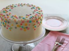 polka dot buttercream cake. Cute simple smash cake idea
