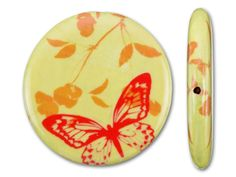 45mm Red Butterfly on Yellow Background D�coupage Round Pendant