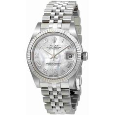 Rolex Oyster Perpetual Datejust Mother of Pearl Dial Automatic Ladies... ($8,450) ❤ liked on Polyvore featuring jewelry, watches, stainless steel wrist watch, roman numeral jewelry, crown jewelry, rolex and dial watches