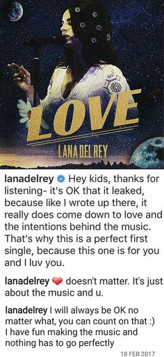 Lana Del Rey commented on her own post on Instagram. She's lovely. #LDR #quotes