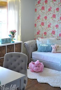 Although it's not completely finished, we have made enough progress in Lola's room that I went ahead and photographed it yesterday so a. Dear Lillie, Grey Chair, Happy Saturday, Love Seat, Accent Chairs, Bedroom Decor, Couch, Organising, Decorating Ideas