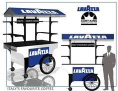 Lavazza Coffee Cart designed for indoor and outdoor use. Low cost high impact coffee vendor. www.Cart-King.com