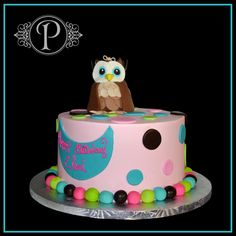 Little Owl Pink and Polka Dot Birthday Cake