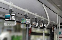 Publicidad interactiva con los elementos físicos del interior del autobús gracias a la Realidad Aumentada con la app Holaapp.