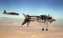 The first XFV-1 during a test flight at Edwards AFB.