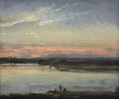 Johan Christian Dahl, Sunset Over the River Elbe, Dresden (ca. 1840)