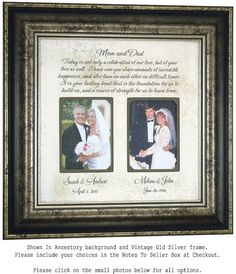 Personalized Wedding Gift for Parents Today by PhotoFrameOriginals