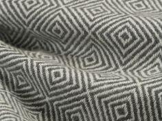Cashmere wool fabric with grey diamond pattern