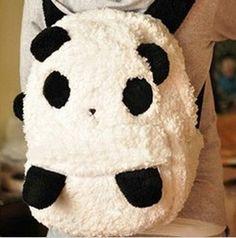 Kawaii Black Plush Panda Backpack Travelling Bag School Bag