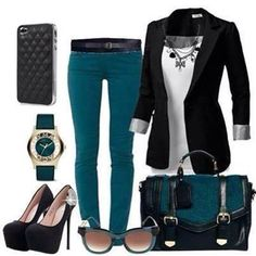 Teal pants and black blazer Turquoise Pants Outfit, Teal Outfits, Mode Outfits, Fashion Outfits, Womens Fashion, Turquoise Jeans, Turquoise Clothes, Fashion Ideas, Fashion Inspiration