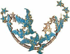 A gold, opal, diamond and enamel bracelet by René Lalique in the form of a crescent moon adorned with bats and stars, all symbols of the night.